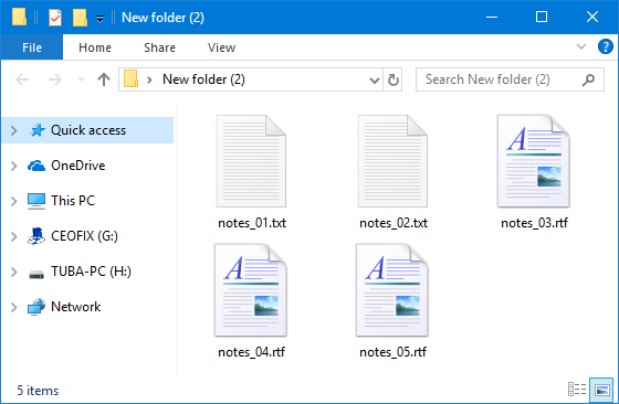 Files in different extensions