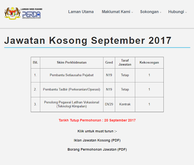 Jawatan Kosong Kerajaan 2017 Di Lembaga Kemajuan Wilayah Pulau Pinang Perda 20 September 2017 Appjawatan Malaysia