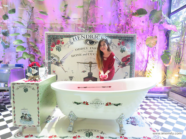 Hendrick's Gin rose and cucumber backdrop and bathtub