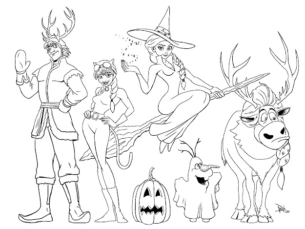 Frozen Halloween Coloring Page