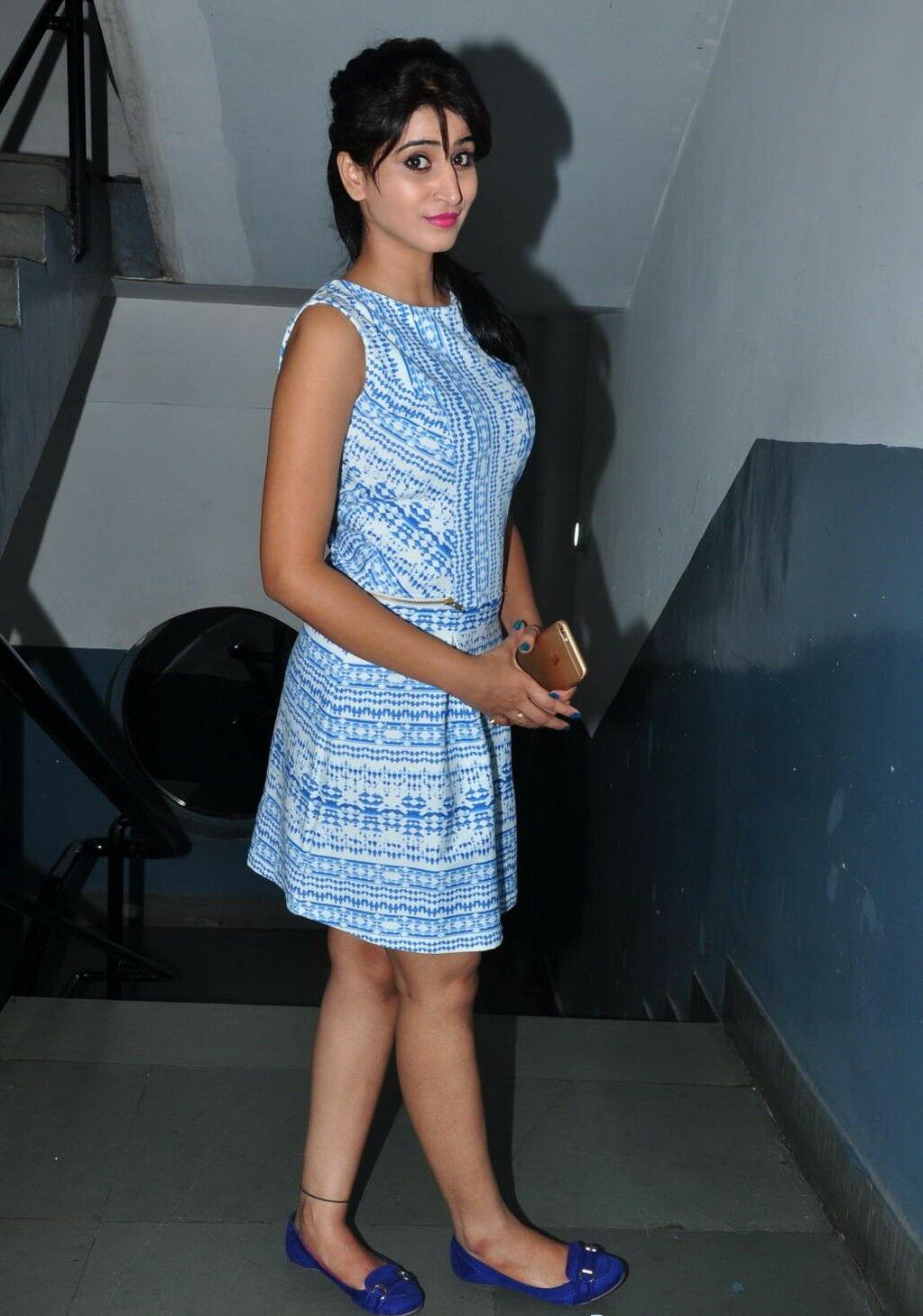 Actress Shamili Long Hair Photos in Blue Short