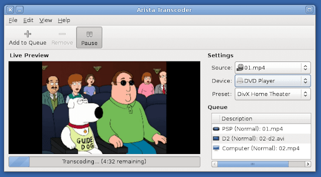 Arista -  Multimedia transcoder for gnome