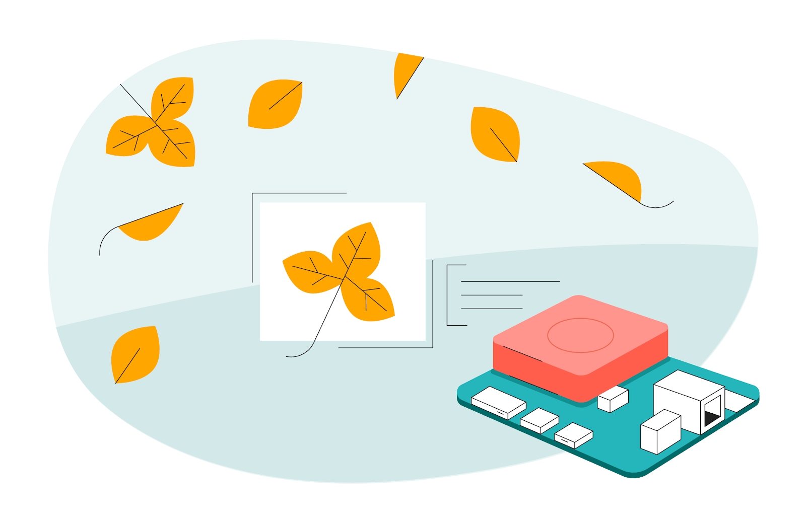 Illustration of the Coral Dev Board placed next to Fall foliage