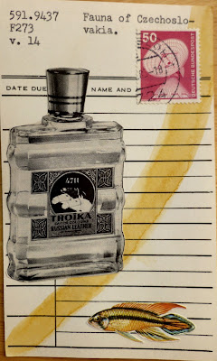 Deleuze vintage cologne bottle ad fish postage stamp satellite dish Fauna of Czechoslovakia library card Dada Fluxus collage