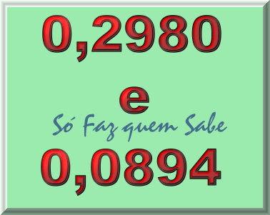 Númerais 0,2980 e 0,0894 com o mesmo número de casas decimais.