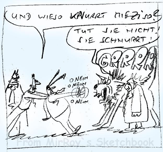 Raue Skizze des Comiczeichners und Cartoonisten MirRoy