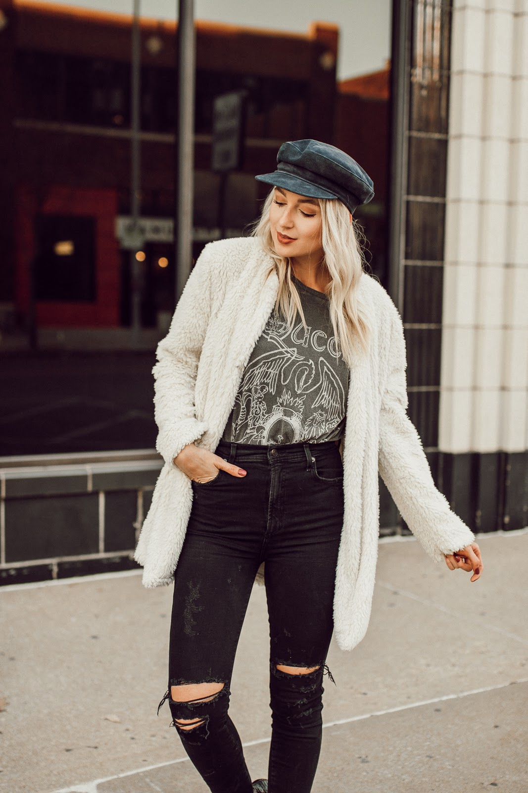 faux fur jacket + graphic tee