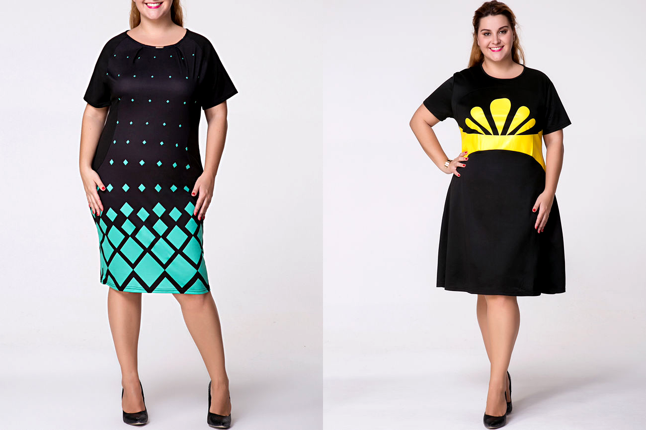 Vestidos Plus Size Color Block