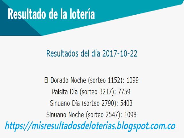 Como jugo la lotería anoche | Resultados diarios de la lotería y el chance | resultados del dia 22-10-2017