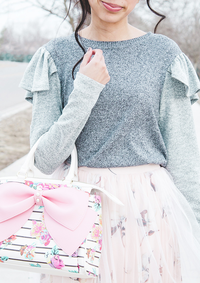 grey ruffle sweater and bow purse modest outfit
