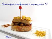 Pintxo de hígado de pato fresco y dados de manzana sobre pan y gota Pedro Ximenez para Astrid