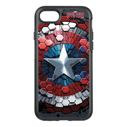 Captain America Hexagonal Ink Splatter Shield OtterBox Symmetry iPhone 7 Case