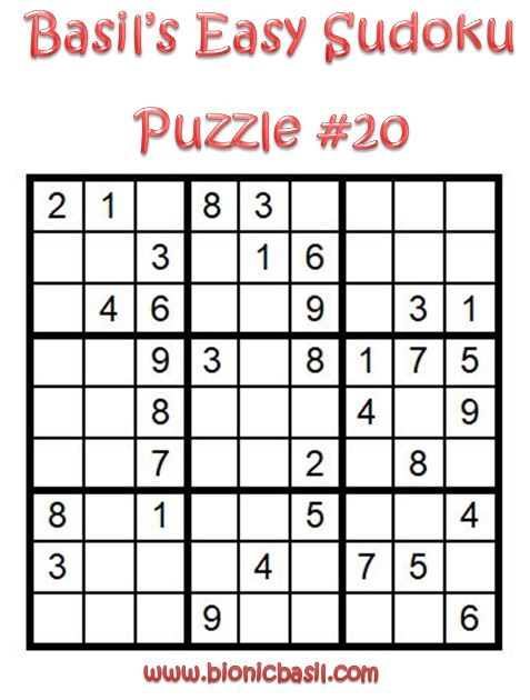 Basil's Easy Sudoku Puzzle #20 Brain Training with Cats @BionicBasil