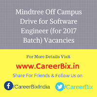 Mindtree Off Campus Drive for Software Engineer (for 2017 Batch) Vacancies