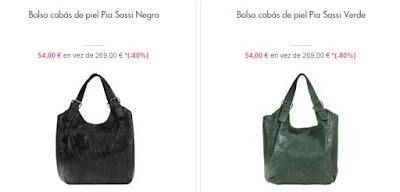 Bolsos cabas de piel color negro o verde