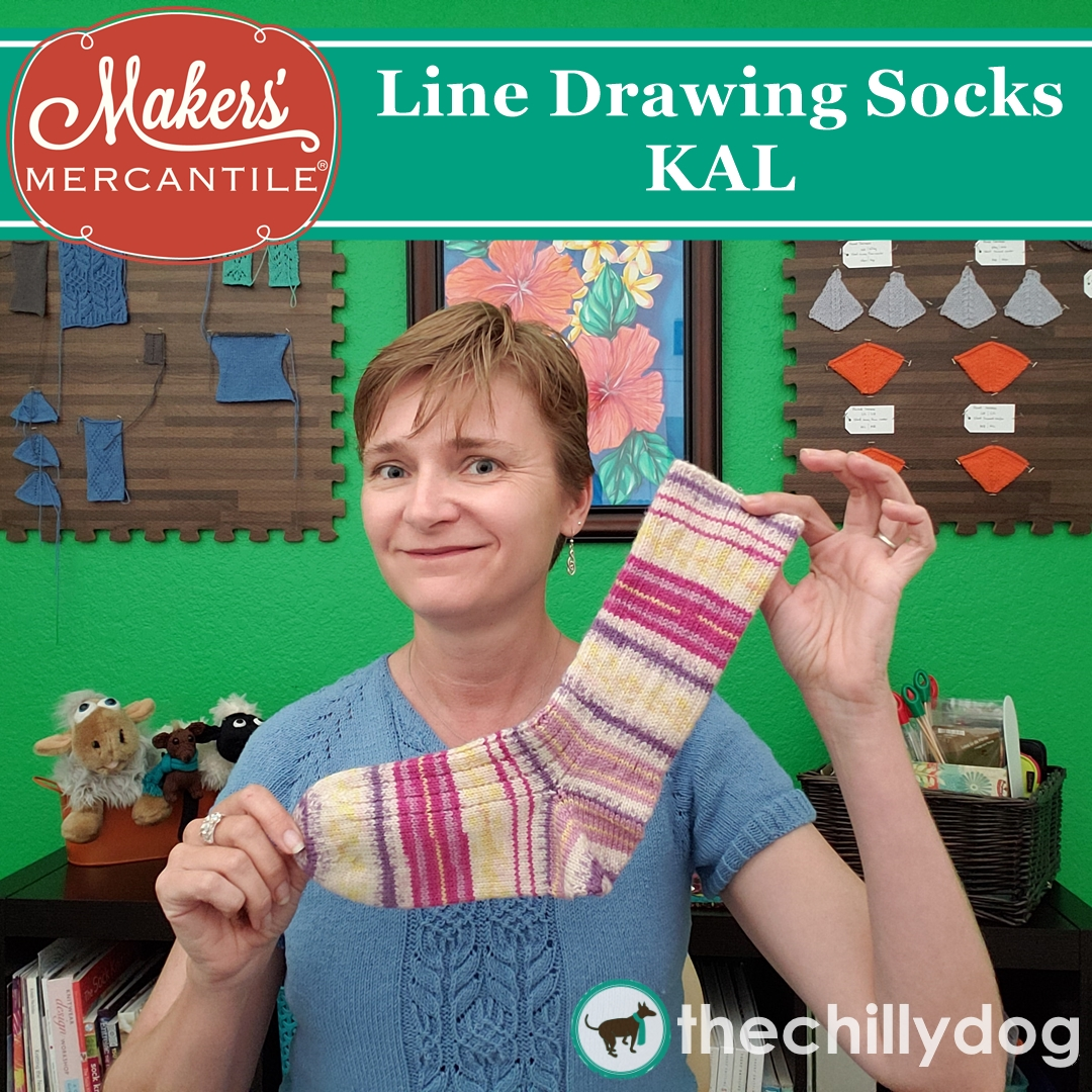 Line Drawing Socks KAL Introduction | The Chilly Dog
