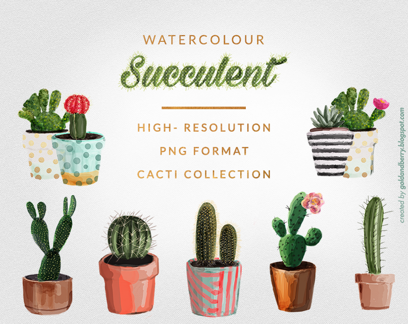 FREEBIES | Watercolor Succulents cactus clip art collection | 8 ...