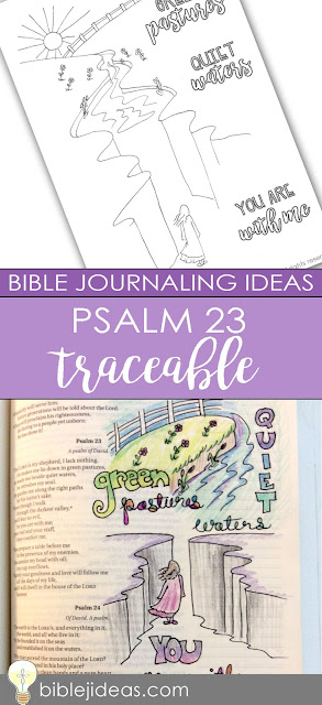 Bible journaling traceable design for Psalm 23