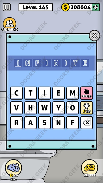 The answer for Escape Room: Mystery Word Level 145 is: INFINITE