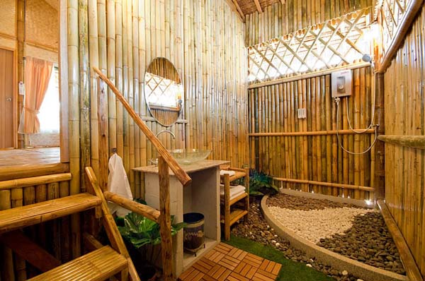 Bamboo bathroom decoration and designs with circle mirror - Bamboo designs for interior designing ...
