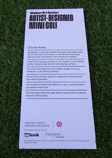 Scorecard from the Walker Art Centre Artist Designed Mini Golf course