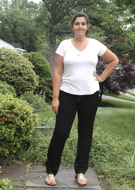 Black pull-on stretch jeans made from the Ginger Jeans sewing pattern by Closet Case Files.