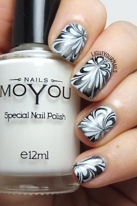 Black and white water marble stamping nail art feat. plate Hehe040 #nailart #stamping #nails #unghie #lightyournails