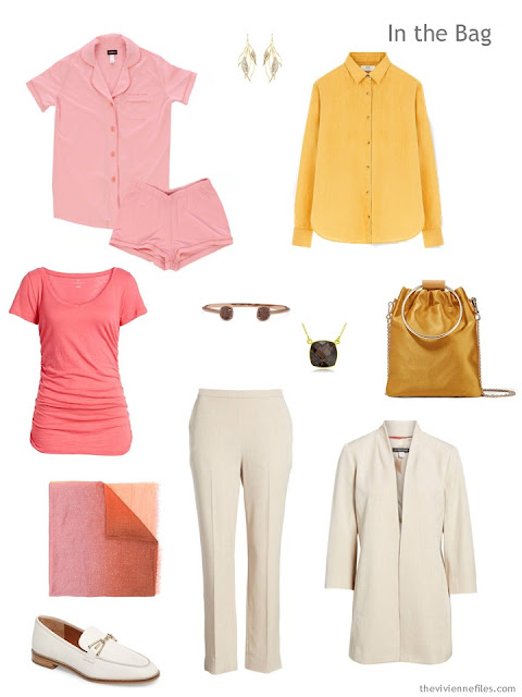 Tote Bag Travel capsule wardrobe in bone with pink and gold accents