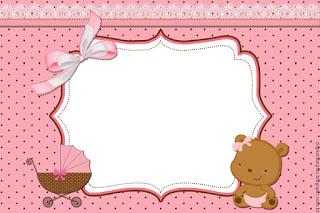 Para hacer Invitaciones, Tarjetas, Marcos de Fotos o Etiquetas de Osita Bebé para Imprimir Gratis.