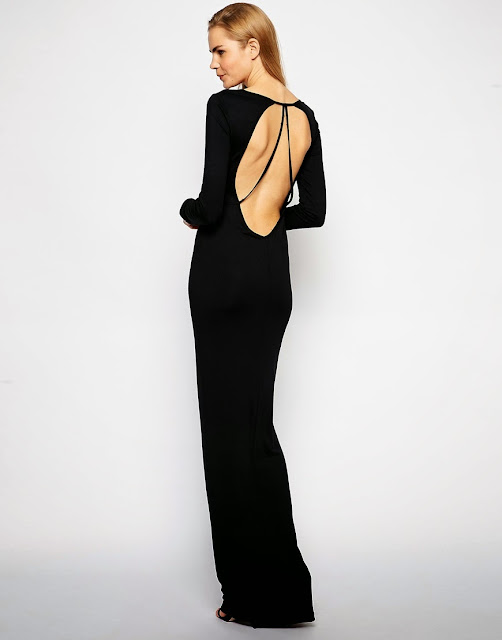 open back black maxi dress