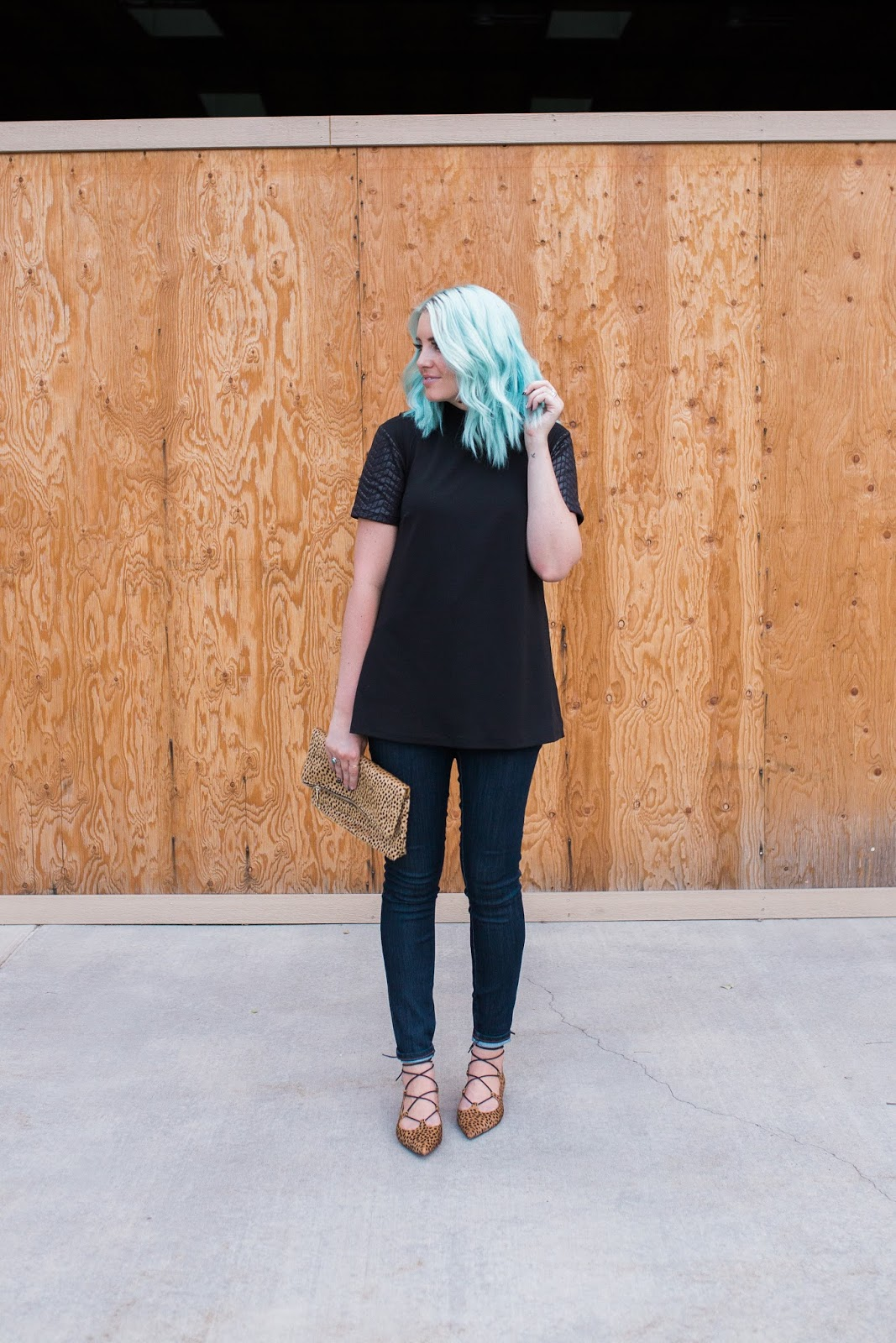 Leopard, Blue Hair, Utah Fashion blogger