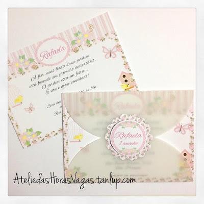 convite artesanal infantil aniversário personalizado jardim encantado passarinhos borboletas delicado provençal 1 aninho menina