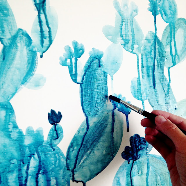 Drippy Blue Cactus Painting by Elise Engh