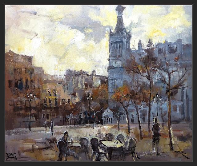 MADRID-PINTURA-HOTEL-PLAZA-SANTA ANA-HOTELES-ATARDECER-PAISAJES-URBANOS-CUADROS-ARTISTA-PINTOR-ERNEST DESCALS-