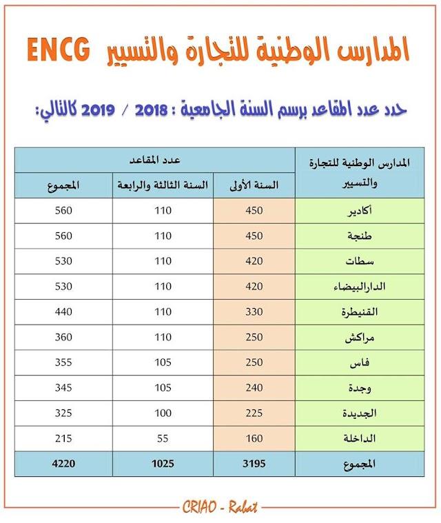 المدارس الوطنية للتجارة و التسيير ENCG عدد المقاعد 2018-2019