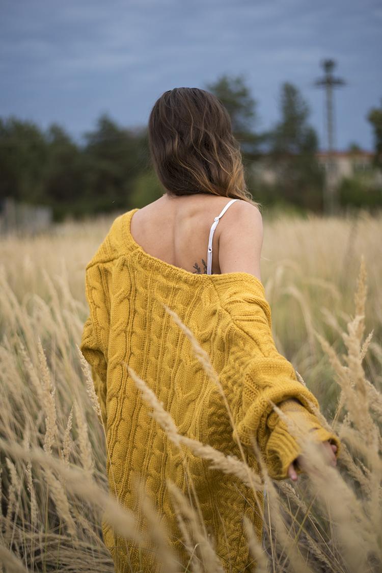 Skinny Buddha Mustard Cable Knit Cardigan