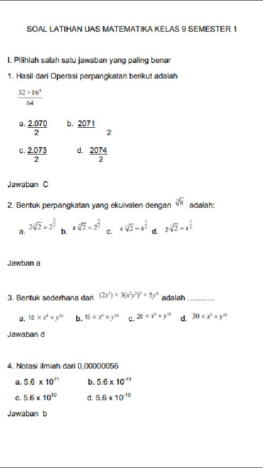 Contoh Soal Matematika Kelas 9 Semester 1 Beserta Jawabannya