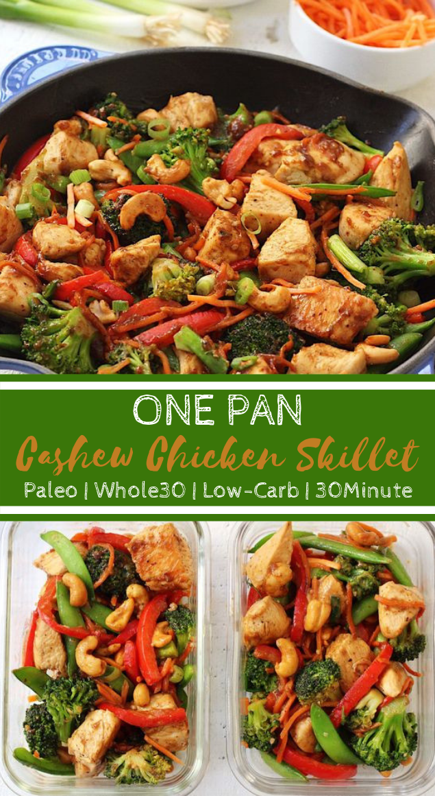 Paleo Cashew Chicken Skillet #Whole30 #healthy