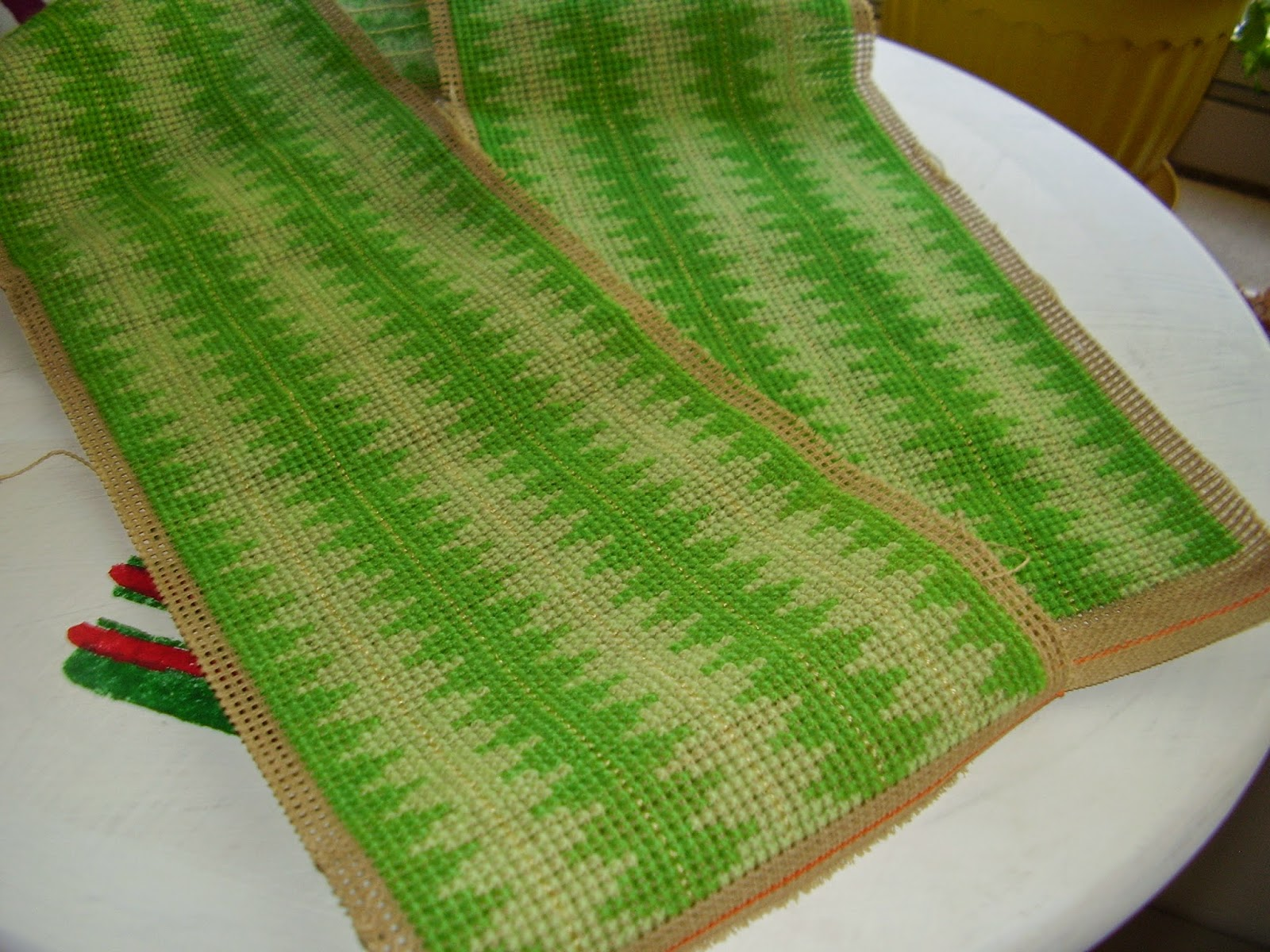 Two tone green Berlinwork or cross stitch for Victorian workbasket.