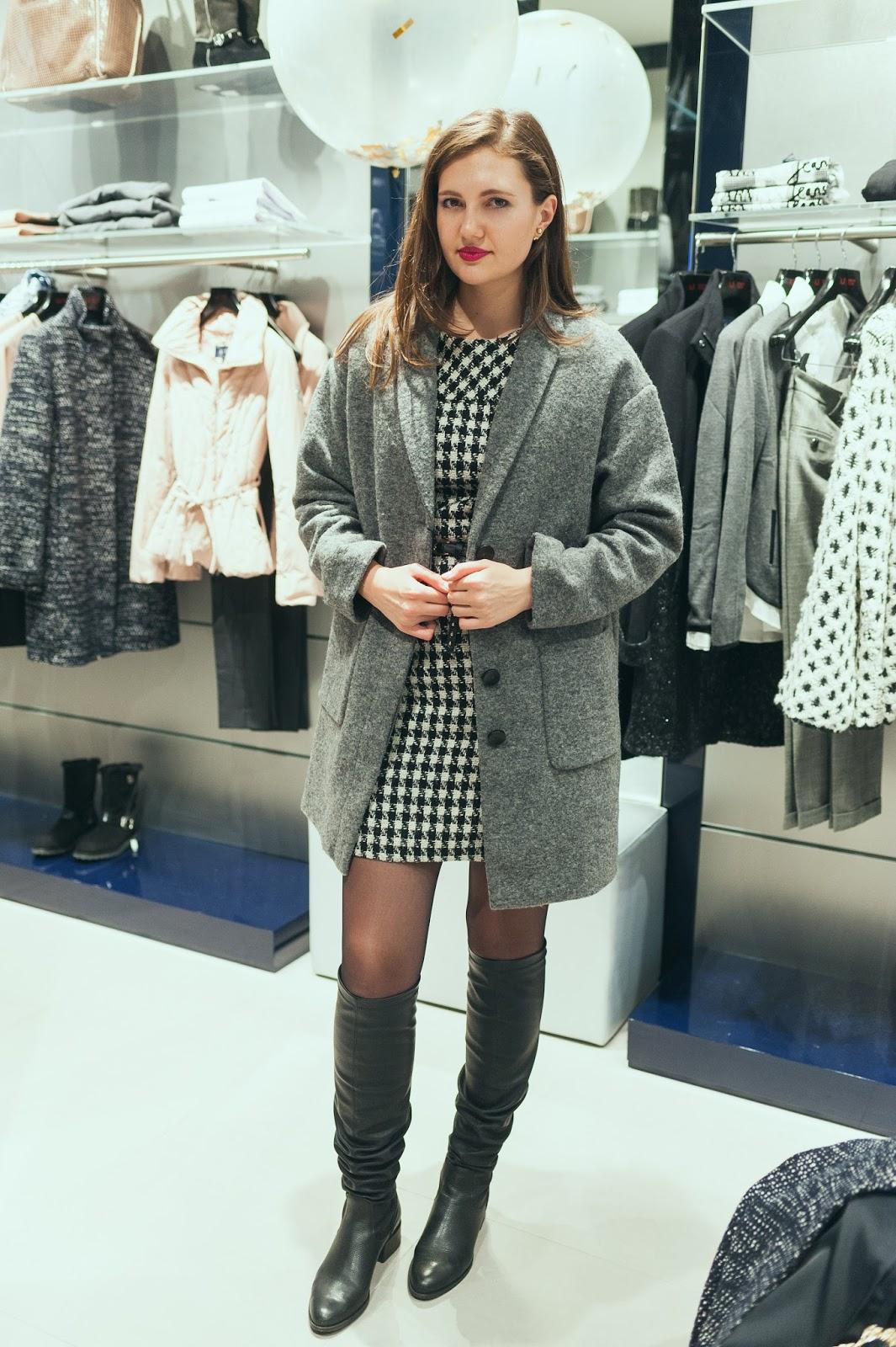 Эвелина Попова, открытие магазина, Armani Jeans, Sky Mall, fashion blogger, фешн блогер, серое пальто