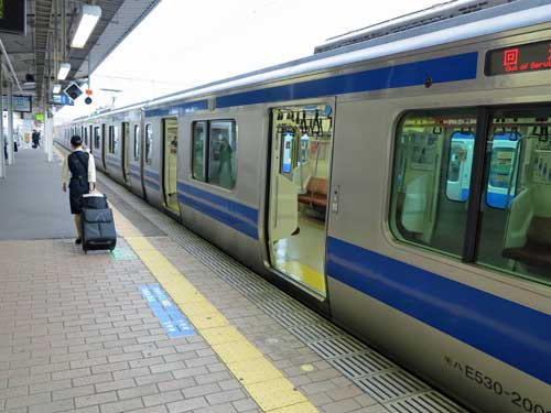 Joban Line train at Tsuchiura Station.