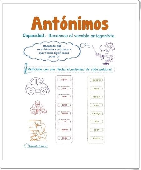 Razonamiento Verbal: ANTÓNIMOS (Cuadernillo de Lengua Española de 2º y 3º de Primaria)
