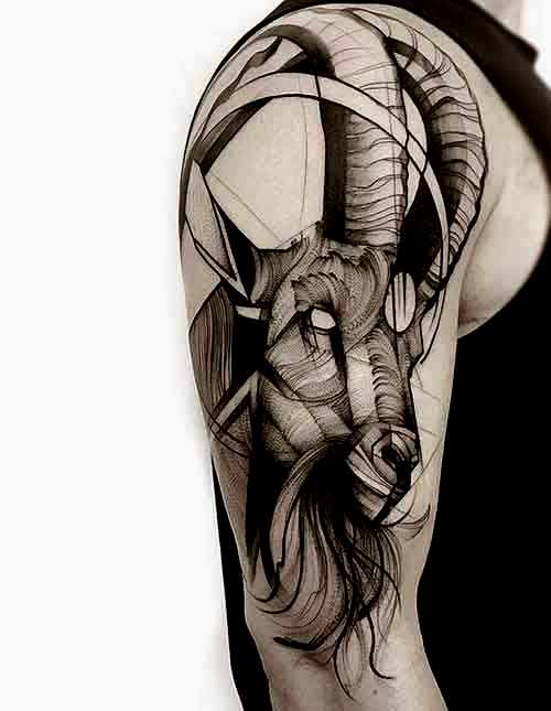 Sketch style Capricorn tattoos ideas for men on half sleeve
