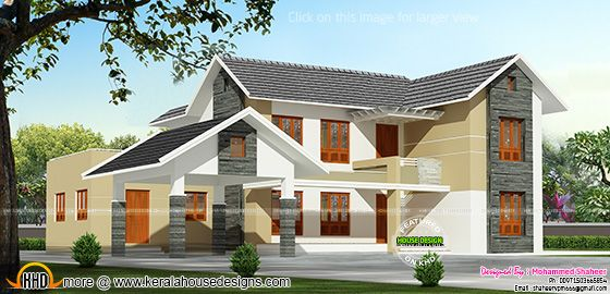 Kerala model sloped roof house