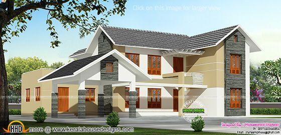 Kerala model sloped roof house
