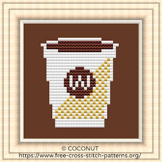 COFFEE, FREE AND EASY PRINTABLE CROSS STITCH PATTERN