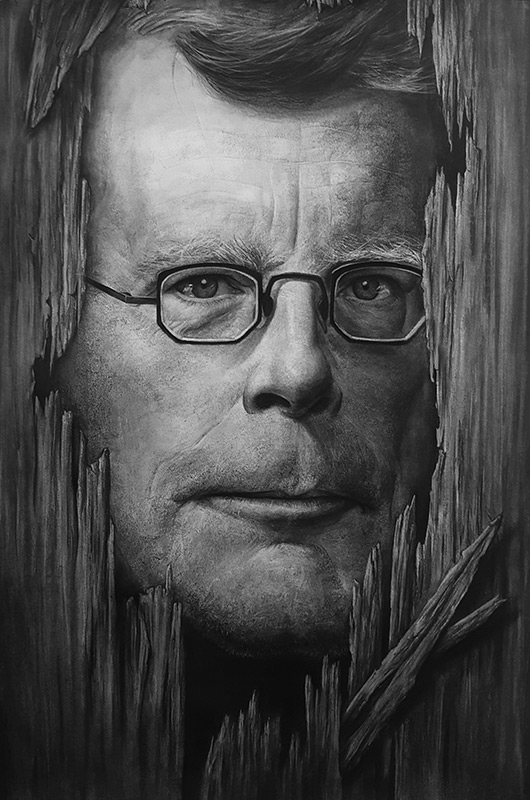 05-Stephen-King-Liu-Ling-Faces-of-Writers-in-Charcoal-Drawings-www-designstack-co