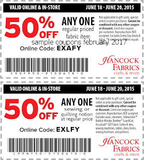 Hancock Fabrics coupons for february 2017