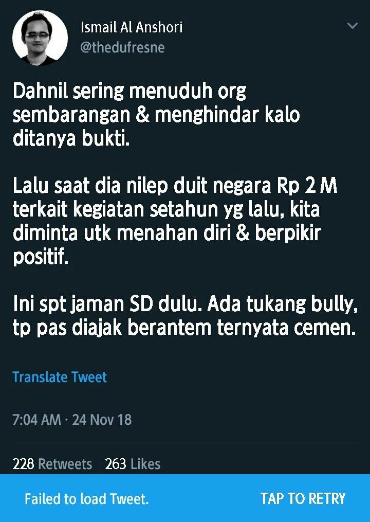 Pendukung Jokowi Ismail Al Anshori Fitnah Dahnil di Twitter