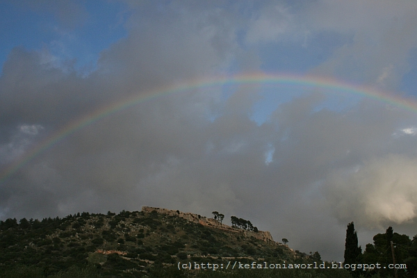 Rainbow over St. George's Fortress, Kefalonia